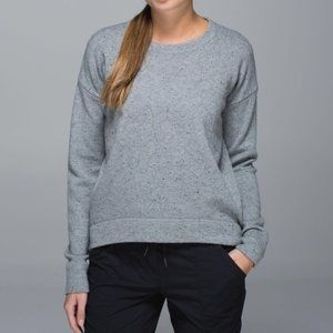 Lululemon Grey Yogi Crew Sweater 100% Merino Wool